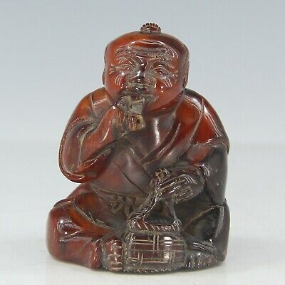 Chinese Exquisite Hand-carved Fisherman carving OX Horn statue