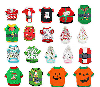 Pet Christmas T Shirt Dog Cat Winter Warm Hoodie Sweater Clothes Xmas Costumes