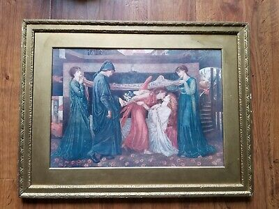 Dante's Dream At The Time Of The Death Of Beatrice Antique Print And gold Frame