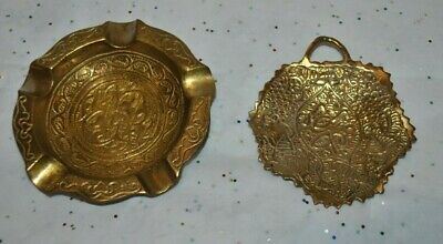 Set/2 ANTIQUE DAMASCUS Syria Pentagon ASHTRAY & Small DISH w/HANDLE Etched Brass