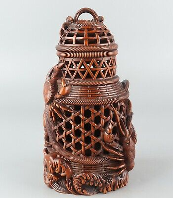 Chinese Exquisite Hand carved crab shrimp Carving Boxwood cage