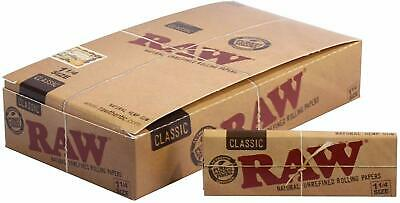 Raw Unrefined Classic 1.25 1 1/4 Size Cigarette Rolling Papers Full Box 24 Packs