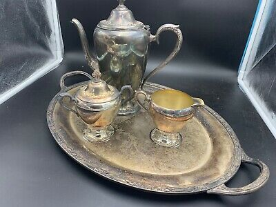 4 Antique Roger's & Bro Silverplated Waiter Tray 2380 Pitcher 2301 & Sugar 2308