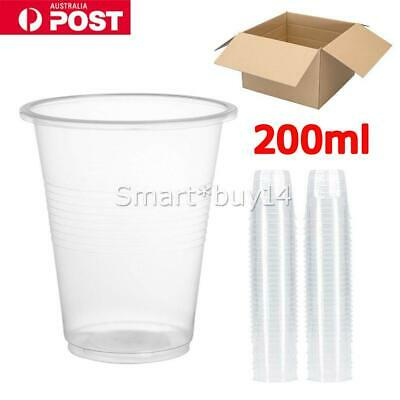 Disposable Plastic Cups Clear Reusable Drinking Water Cup Party 200ml Bulk K