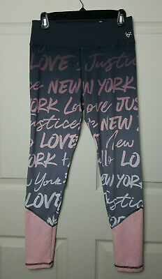 Justice Active Girls Leggings Gray Pink Ombre Graphic Size 18 EUC