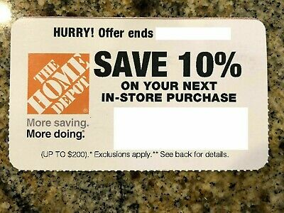 Home Depot 10% OFF Discount -In-store ONLY Save up to $200 (exp 10/28)