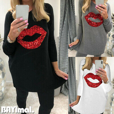 Women Sequin Lip Long Sleeve T Shirt Ladies Casual Baggy Jumper Pullover Tops UK