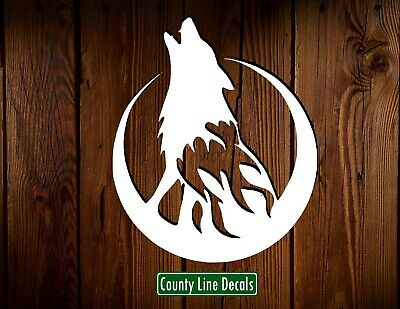Howling Wolf Vinyl Window Decal Decals Hunting Sticker Mossy Oak Wolves Moon
