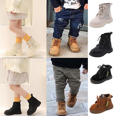 Kids Girls Boys Chelsea Lace Up Ankle Boots Toddler Zipper Booties Infant Shoes