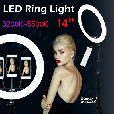 14''LED SMD Ring Light Kit with Stand Dimmable 5500K for Makeup Phone Camera USA