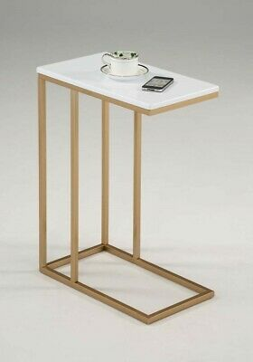 Gold Side Table Furniture End Accent White Sofa Snack Metal