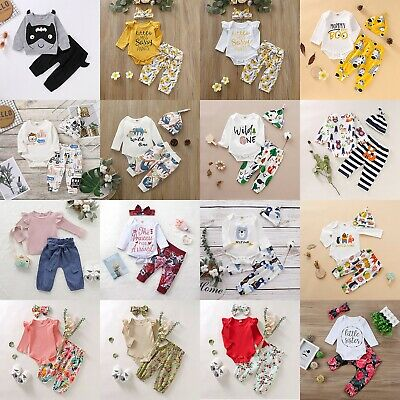 Newborn Infant Baby Boy Girl Long Sleeve Romper Tops Pants 3PCS Outfit Clothes
