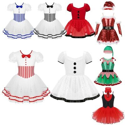 Girls Baby Kids Christmas Fancy Dress Dance Costume Skating Dress Party Outfit
