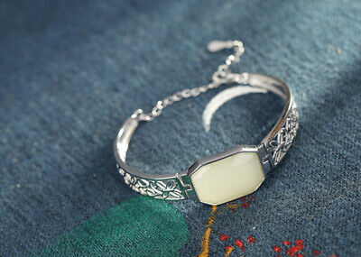 B23 Bangle Bracelet Square White Jade and Flowers from Sterling Silver 925