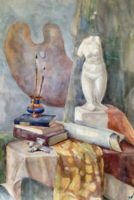 ORIGINAL Watercolor PAINTING  still life with a palette, atrist's brushes,paints