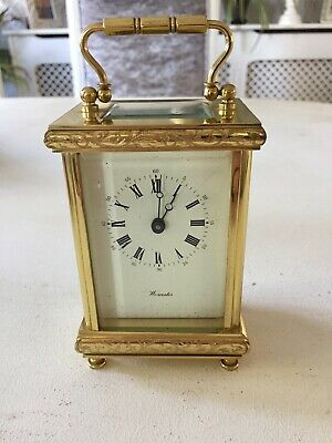 Worcester Solid Brass Carriage Mantle Clock 11 Jewels