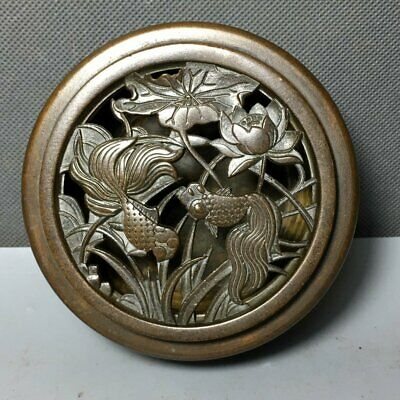 "4"" China old antique Handmade bronze fish Lotus Chinese Zodiac statue box"