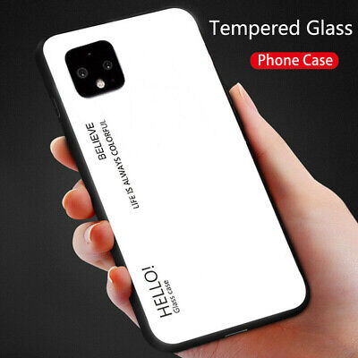 For Google Pixel 4, Pixel 4 XL Luxury Shockproof Tempered Glass Back Case Cover