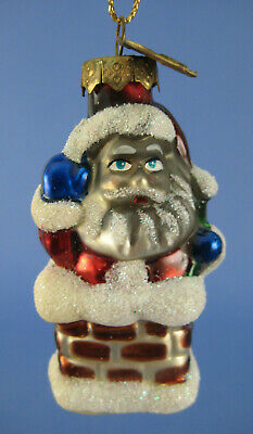 Santa Chimney Bag Presents Glass Ornament Thomas Pacconi Night Before Christmas
