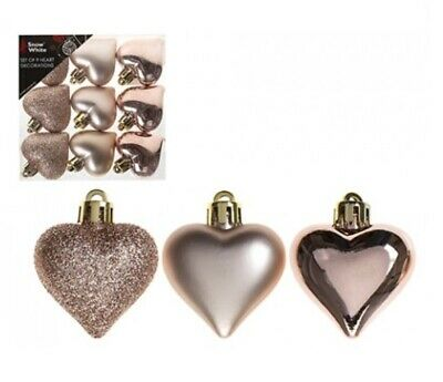 Pack Of 9 Assorted Heart Shaped Christmas Tree Baubles Decorations Rose Gold