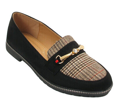 Womens Ladies Flat Diamante Faux Suede Leather Loafers Moccasin Shoes Work Size