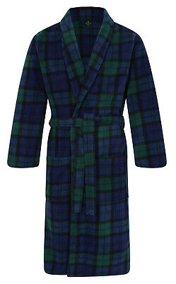 Men's Warm Fleece Bathrobe/Dressing Gown, Blackwatch Tartan (sizes available)