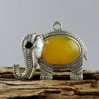 Colect Old Miao Silver Inlay Amber Hand-Carved Moral Bring Luck Elephant Pendant