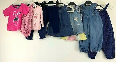 Baby Girls 3-6 Months Clothes Bundle Next H&M Dungarees Pinafore Tops Pink Cute