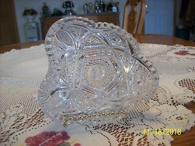 Imperial Glass Clear Vtg Sawtooth Strawberry Cut & Hob Star Serving Candy Dish