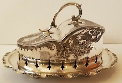 Fine And Large Victorian Peirced Epns Cheese Dish And Cover