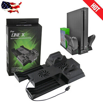 Dual Controller Charging Station Stand Game Holder Cooling Fans For Xbox One X