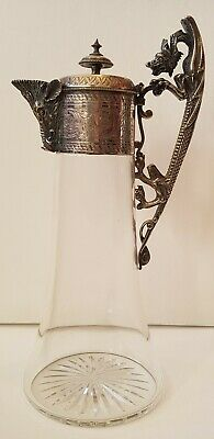 Exquisite Large Antique Epns Elkington Silver Plated Glass Wine/Claret Jug