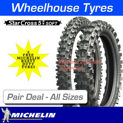 New  Michelin Starcross 5 Soft - Pair Deal + Free Tubes