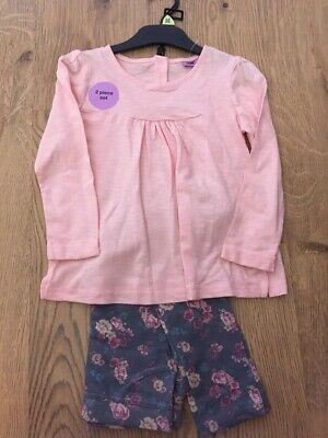 Girls Outfit Pretty Floral Leggings & Pink Top Set. Brand New 4/5 4/6 6/7 Years