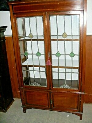 Antique Edwardian Inlaid Stained Leaded Glass Mahogany Display Cabinet With Key