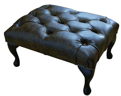 Chesterfield Deep Buttoned Queen Anne Footstool 100% Aged Brown Leather