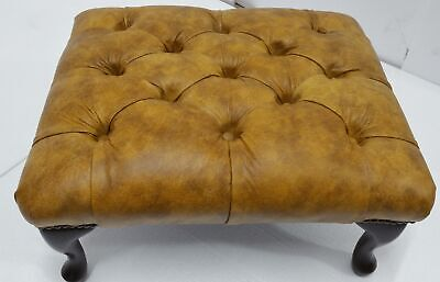Chesterfield Deep Buttoned Queen Anne Footstool 100% Distressed Mustard Leather