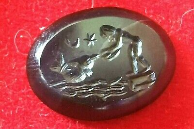 Ancient Agate Intaglio Man Feeding Dolphin Among Moon Star Seal Engraved Bead
