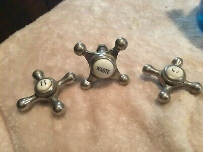 Vintage Metal & Porcelain Hot, Cold, and Waste Water Faucet Spigot Handles