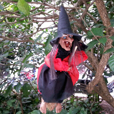"""12""""Halloween Hanging Animated Talking Witch Props Laughing Control Decor F6C4R"""