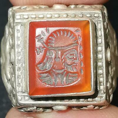 Solid Silver Unique Old Roman Agate king Face intaglio stone Lovely Ring   # 29