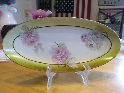 ANTIQUE HAND-PAINTED PORCELAIN OVAL SERVING PLATE/DRESSER TRAY - Germany 11.5""
