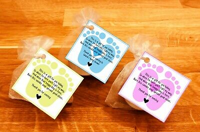 Baby shower scented candles favours tealights baby feet Yellow pink blue 10 pack