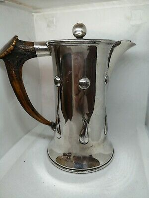 Antique EPNS arts crafts Liberty style silver plated & antler handle jug can