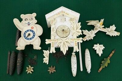 2 Vintage Cuckoo & Teddy Bear Mechanical Wall Clocks for Restoration