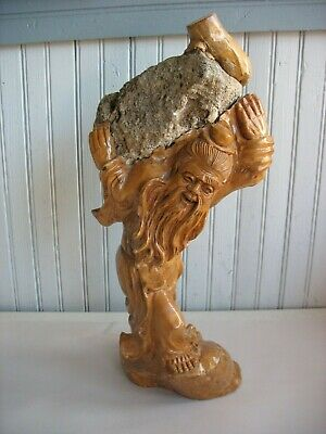 Hand Carved Burlwood Boxwood Chinese Japanese man root sculpture with stone rock