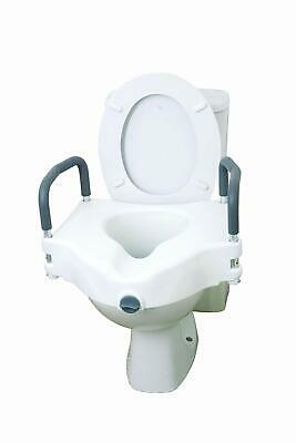 Raised Elevated Adjustable Portable Toilet Seat With Removable Padded Arms White