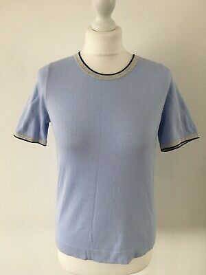 Boden Light Blue Cotton Knited Top Size S 6-8-10 Uk Immaculate