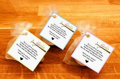 Baby shower scented candles favours tealights baby bird Yellow Pink Blue 10 pack