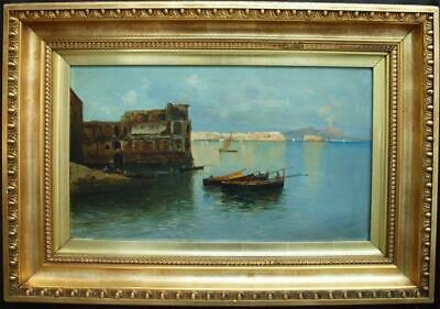 FINE 19th Century NEAPOLITAN SCHOOL FISHING BAY OF NAPLES Antique Oil Painting